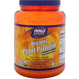 Now Foods, Organic Plant Protein, Natural Unflavored, 2 lbs (907 g)