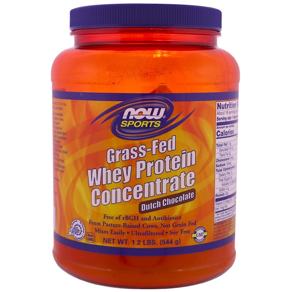 Now Foods, Grass-Fed Whey Protein Concentrate, Dutch Chocolate, 1.2 lbs (544 g) (Discontinued Item)