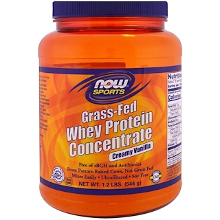 Now Foods, Grass-Fed Whey Protein Concentrate, Creamy Vanilla , 1.2 lbs (544 g)