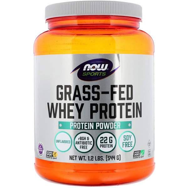 Now Foods, Grass-Fed Whey Protein Concentrate, Unflavored, 1.2 lbs (544 g)