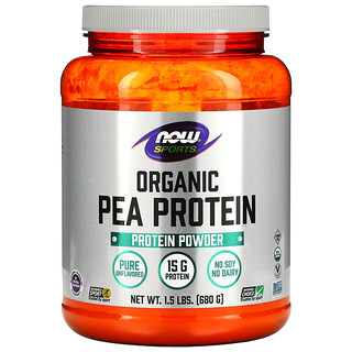 Now Foods, Sports, Organic Pea Protein Powder, Pure Unflavored, 1.5 lbs (680 g)