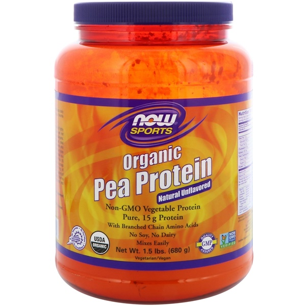 Now Foods, Sports, Organic Pea Protein, Natural Unflavored, 1.5 lbs (680 g)