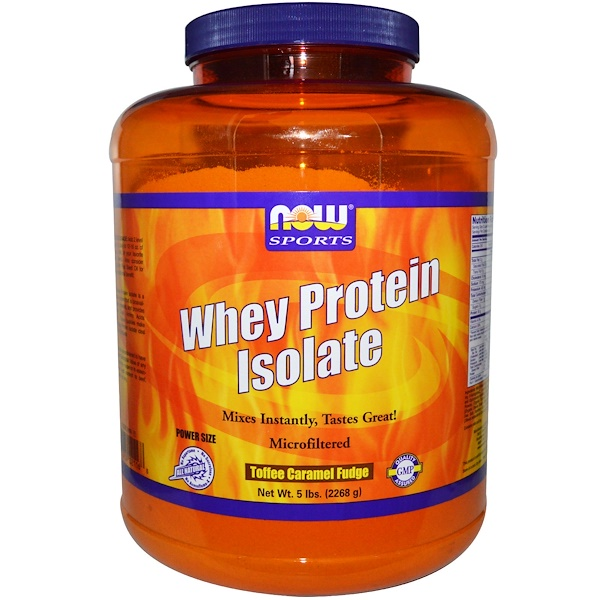 Now Foods, Whey Protein Isolate, Toffee Caramel Fudge, 5 lbs (2268 g) (Discontinued Item)