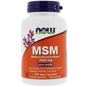 Now Foods, МСМ, метил-сульфонил-метан, 1000 мг, 120 капсул в растительной оболочке