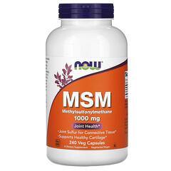 Now Foods, MSM 甲基磺醯甲烷,1,000 毫克,240 粒素食膠囊