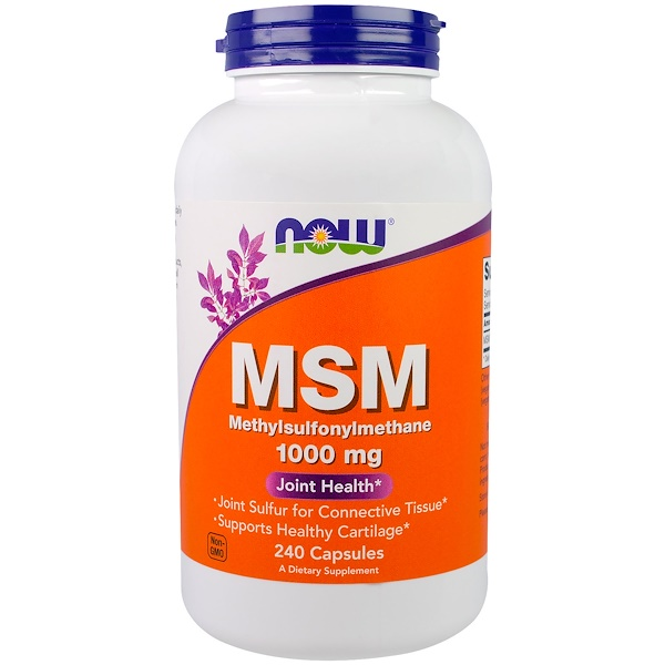 Now Foods, MSM, 1000 mg, 240 Cápsulas