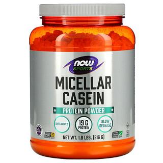 Now Foods, Sports, Micellar Casein Protein Powder, Unflavored, 1.8 lbs (816 g)