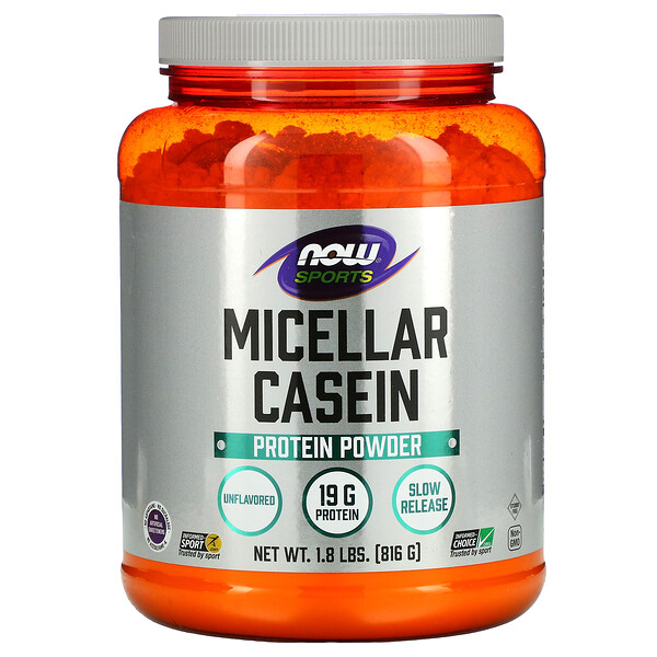 Sports, мицеллярный казеин, быстрорастворимый, натуральный продукт без ароматизаторов, 816г (1,8фунта)