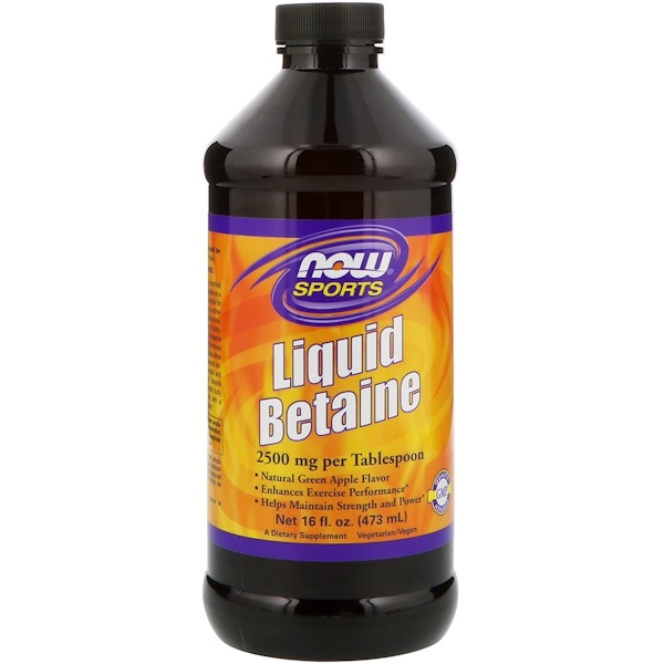 Now Foods, Sports, Liquid Betaine, Green Apple, 16 fl oz (473 ml) (Discontinued Item)