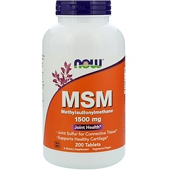 Now Foods, MSM, 메틸술 포닐메탄, 1,500 mg, 200 정제