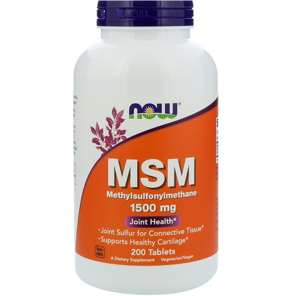 Now Foods, MSM, Methylsulphonylmethane, 1,500 mg, 200 Tablets