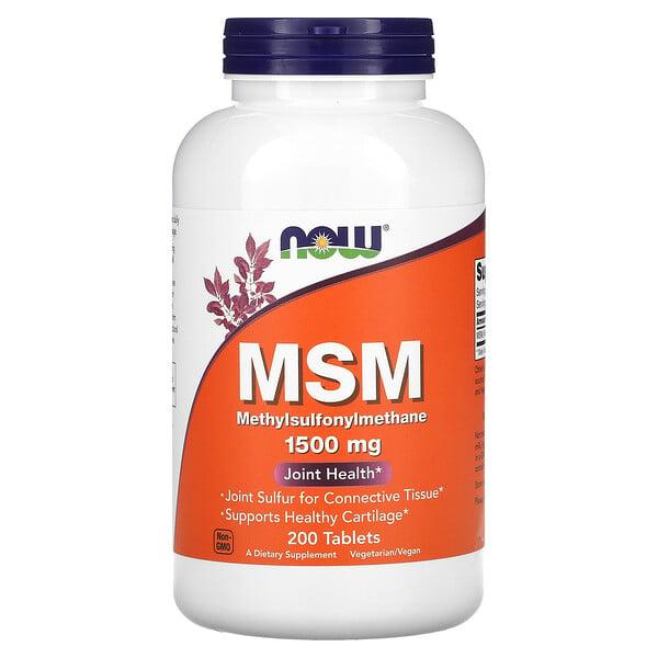 Now Foods, MSM, Metilsulfonilmetano, 1500 mg, 200 tabletas