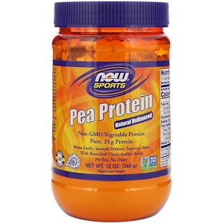 Now Foods, Sports, Pea Protein, Natural Unflavored, 12 oz (340 g)