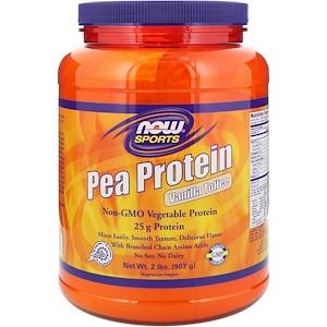 Now Foods, Спорт, гороховый белок, вкус ванильных ирисок, 2 фунта (907 г)