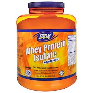 Now Foods, 運動サプリ、分離ホエイプロテイン、天然バニラ味、2268g