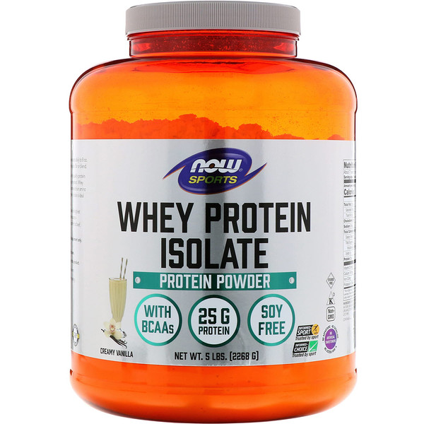 Now Foods, Sports, Whey Protein Isolate, Creamy Vanilla, 5 lbs. (2268 g)