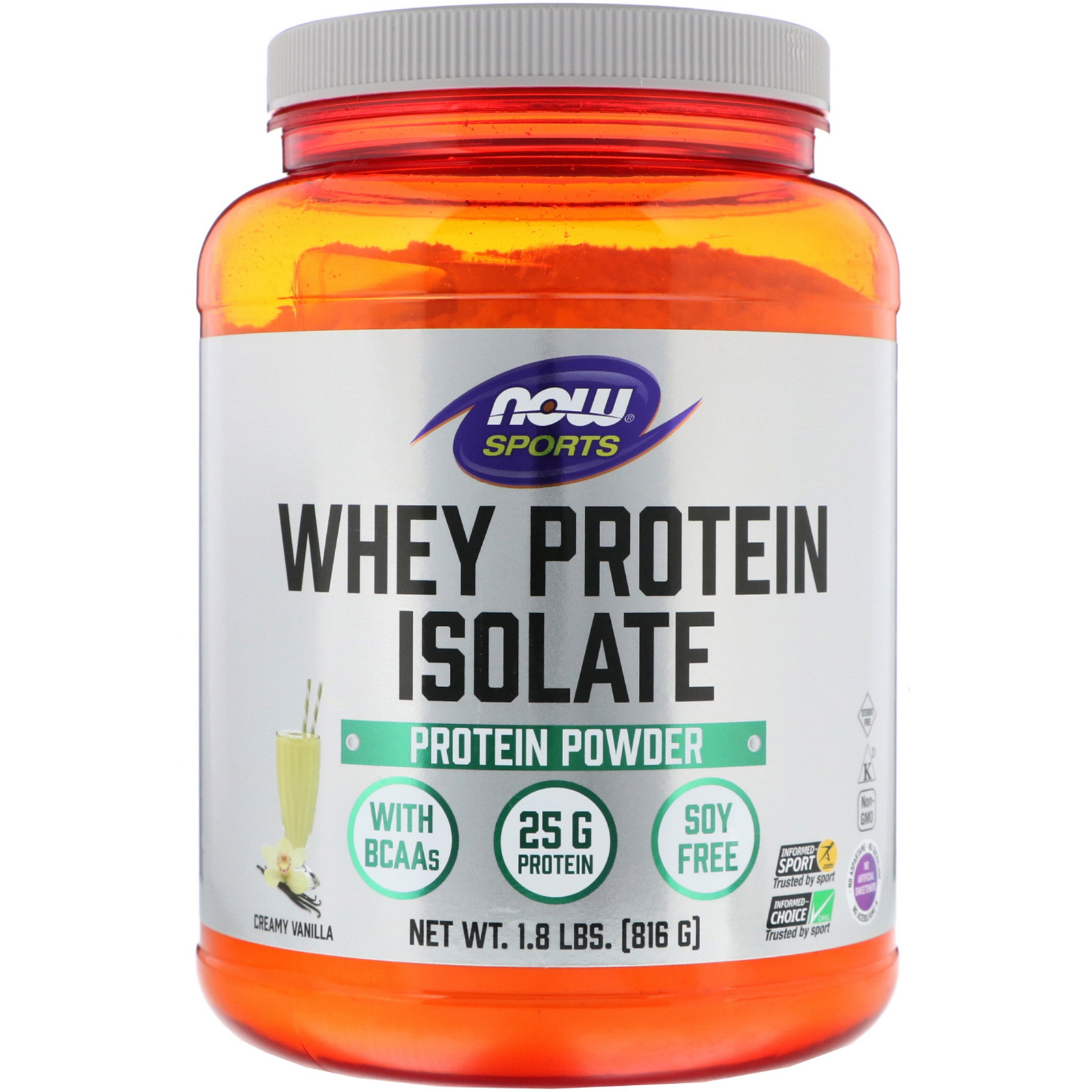 dd8a36c4aab Now Foods, Sports, Whey Protein Isolate, Creamy Vanilla, 1.8 lbs (816 g)
