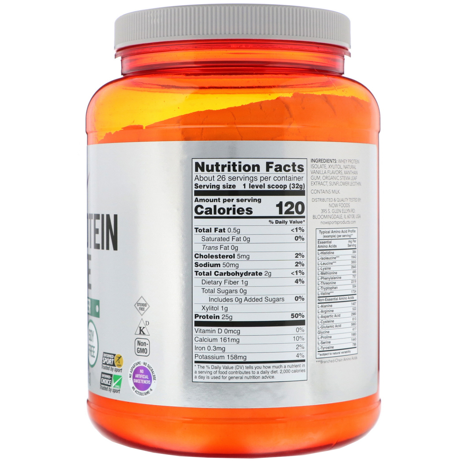 5c4d7bfa462 Now Foods, Sports, Whey Protein Isolate, Creamy Vanilla, 1.8 lbs (816 g).  By Now Foods