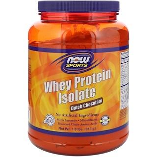 Now Foods, スポーツ、ホエイプロテインアイソレート、ダッチチョコレート、1.8 lbs (816 g)