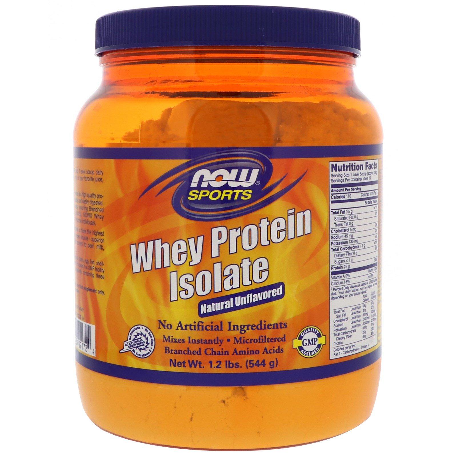 Now Foods, Для спорта, изолят сывороточного протеина, натуральный вкус, 1,2 фунта (544 г)