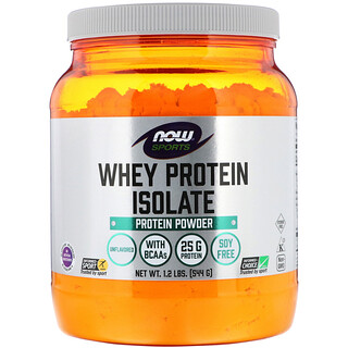 Now Foods, Sports, Whey Protein Isolate, Unflavored, 1.2 lbs (544 g)