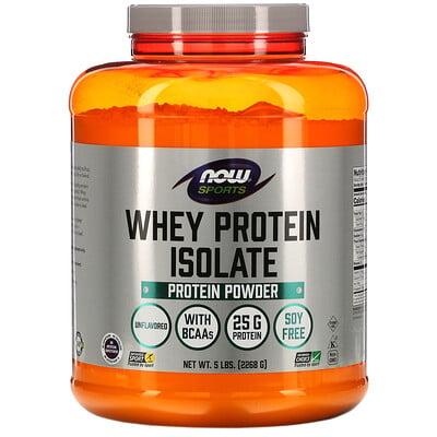 Now Foods Sports, Whey Protein Isolate, без ароматизаторов, 5 фунтов (2268 г)