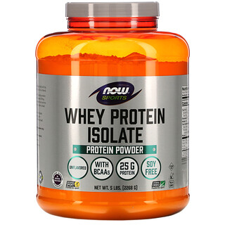 Now Foods, Sports, Whey Protein Isolate, Unflavored, 5 lbs (2,268 g)