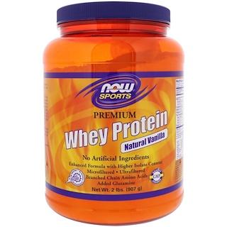 Now Foods, Для спорта, сывороточный протеин высшего качества, натуральная ваниль, 2 фунта (908 г)