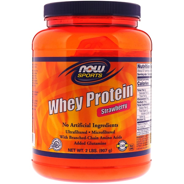 Now Foods, Sports, Whey Protein, Strawberry, 2 lbs (907 g)