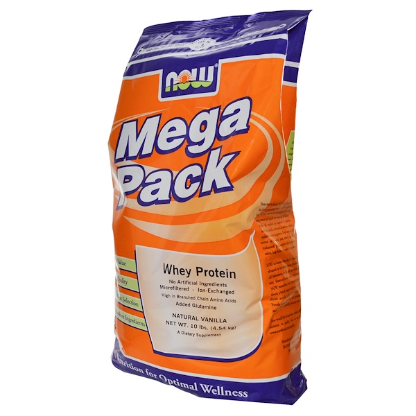 Now Foods, Mega Pack, Whey Protein, Natural Vanilla, 10 lbs (4.54 kg) (Discontinued Item)