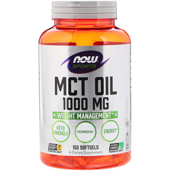 Now Foods, Sports, MCT Oil, 1000 mg, 150 Cápsulas Blandas