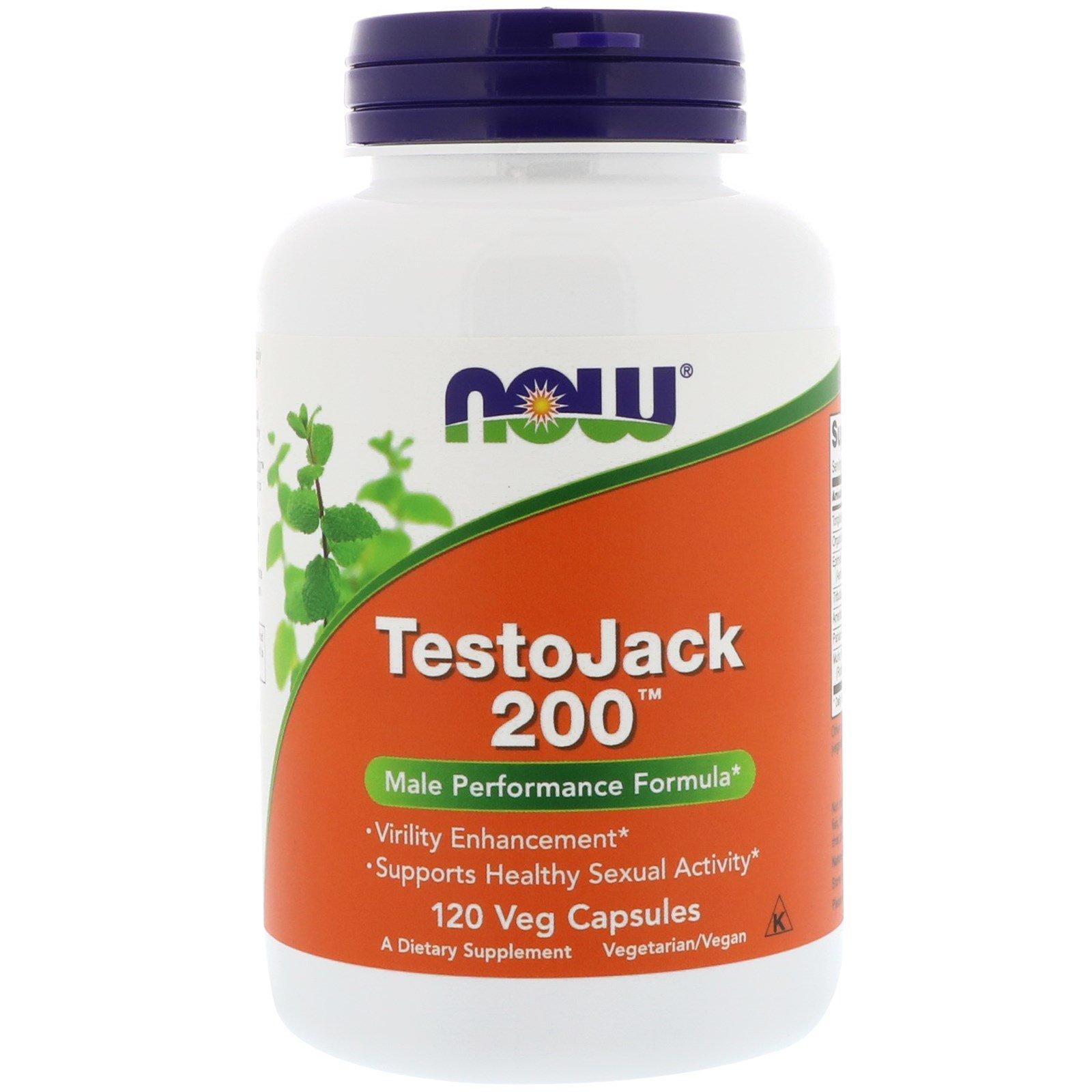 Now Foods, TestoJack 200, 120 растительных капсул
