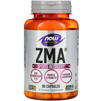 Купить Now Foods Спортивная серия, ZMA, восстановление после занятий спортом, 90 капсул