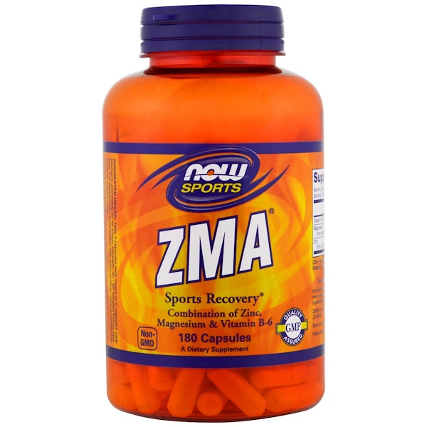 SportsZMA健美健身:Now Foods, ZMA運動恢復膠囊,180粒