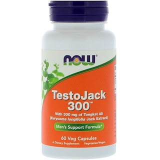 Now Foods, TestoJack 300, 300 мг, 60 вегетарианских капсул