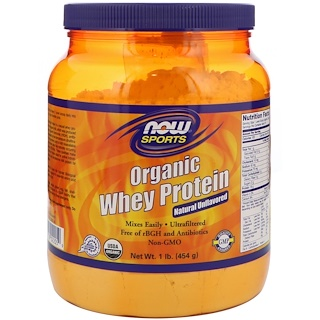 Now Foods, Sports, Organic Whey Protein, Natural Unflavored, 1 lb (454 g)