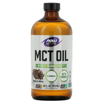 Now Foods Питание для физической активности, триглицеридное масло с цепочками средней длины, мокко с шоколадом, 16 жидких унций (473 мл)