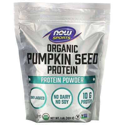 Купить Now Foods Sports, Organic Pumpkin Seed Protein Powder, Unflavored, 1 lb (454 g)