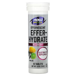 Now Foods, Sports, Effer-Hydrate, Limão, 10 Comprimidos, 51 g (1,8 oz)