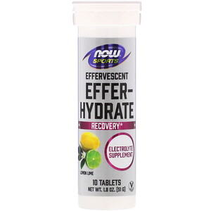Now Foods, Sports, Effer-Hydrate, Lemon Lime, 10 Tablets, 1.8 oz (51 g)