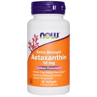 Now Foods, Extra Strength Astaxanthin, 10 mg, 60 Cápsulas Gelificadas