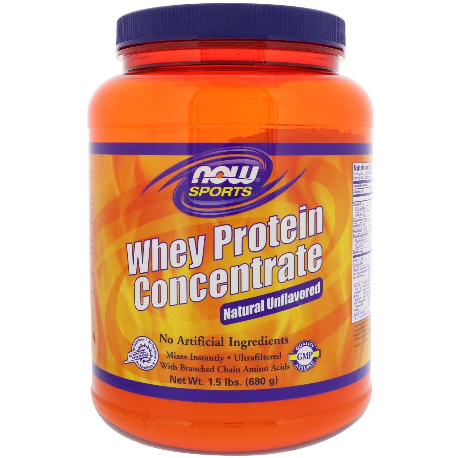 Now Foods, Sports, Концентрированный сывороточный протеин, натуральный без вкусовых добавок, 1.5 фунтов (680 г)