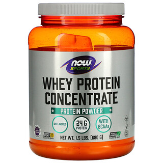 Now Foods, Sports, Whey Protein Concentrate Protein Powder, Unflavored, 1.5 lbs (680 g)