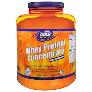 Now Foods, Sports, Whey Protein Concentrate, Natural Unflavored, 5 lbs (2268 g)