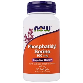 Now Foods, Phosphatidyl Serine, With Ginkgo Biloba Extract, 100 mg, 50 Softgels