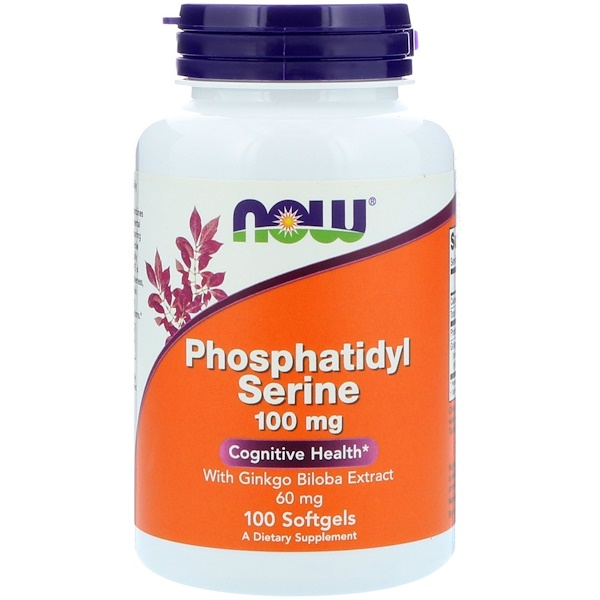 Now Foods, Phosphatidyl Serine, With Ginkgo Biloba Extract, 100 mg, 100 Softgels