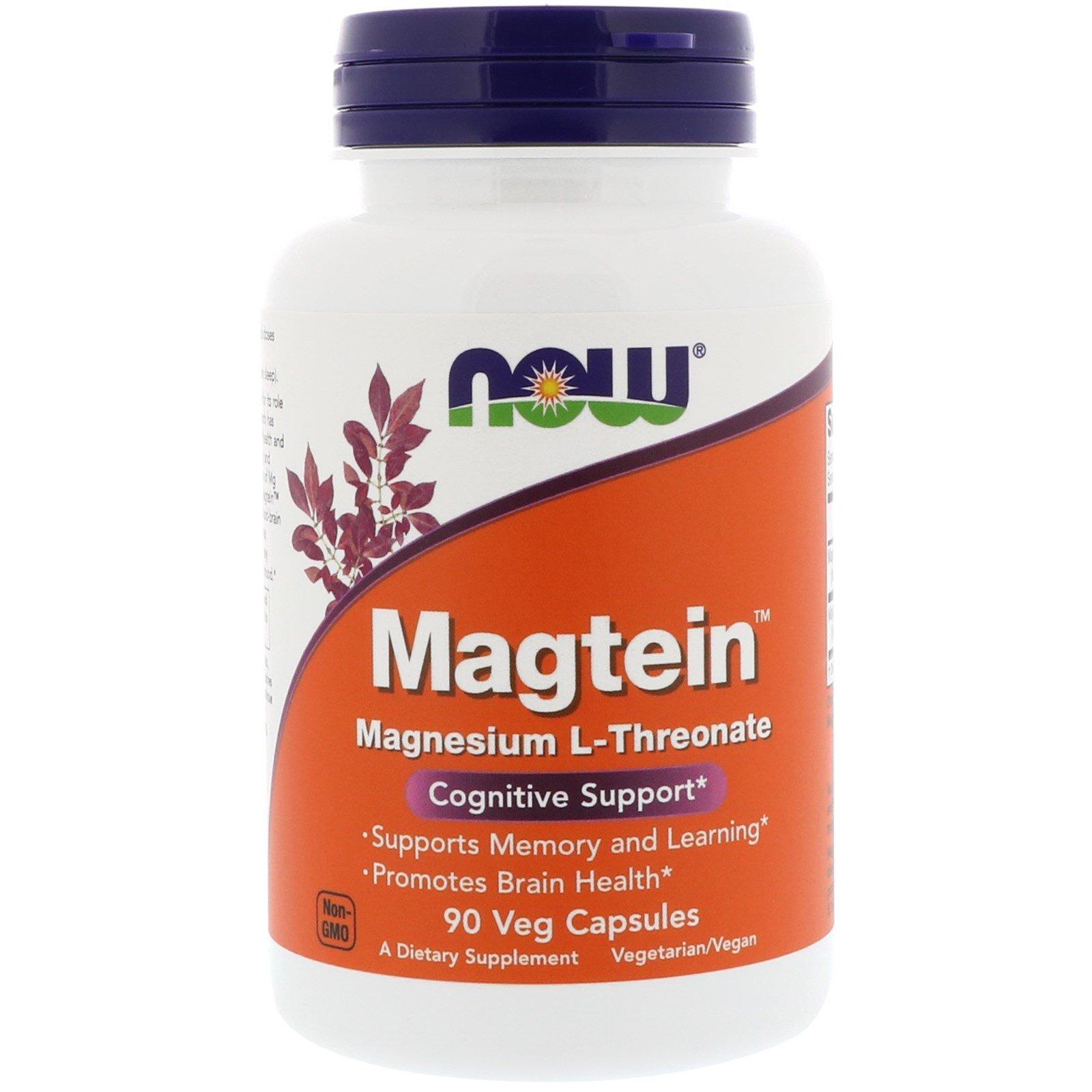 Now Foods, Magtein, магния L-треонат, 90 вегетарианских капсул