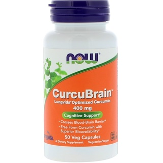Now Foods, CurcuBrain, Cognitive Support, 400 mg, 50 Veggie Caps