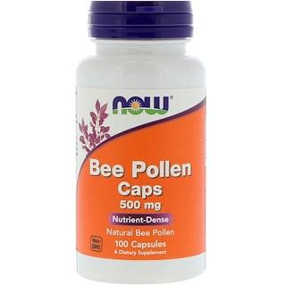 Now Foods, Капсулы с пчелиной пыльцой, 500 мг, 100 капсул