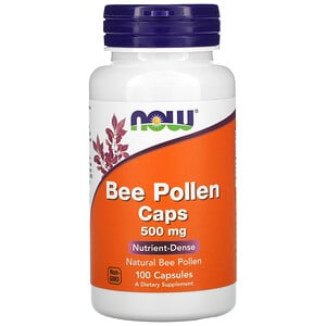 Now Foods, Bee Pollen Caps, 500 mg, 100 Capsules отзывы покупателей